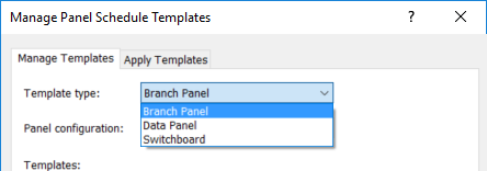 in the branch panel you can choose among 3 panel configurations
