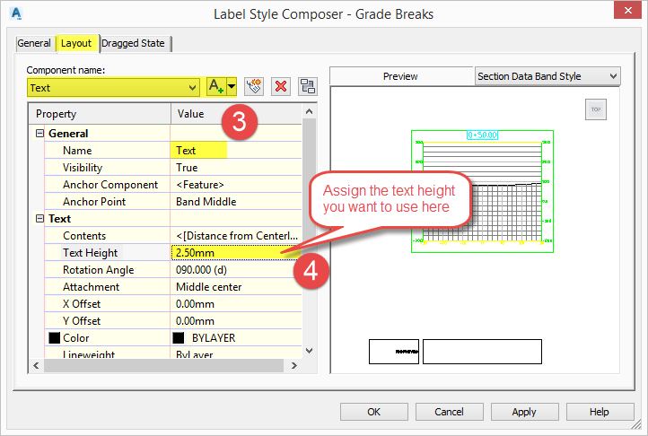 Civil 3D 2019 - Section View Labels - User Guide | Civil 3D