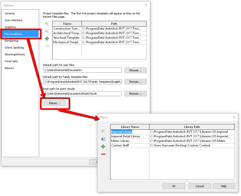 Addingchanging default paths for revit families revit products the path listed at the top of the places list is the default path that is opened when you use the load family button in revit to change the position of a yelopaper Images