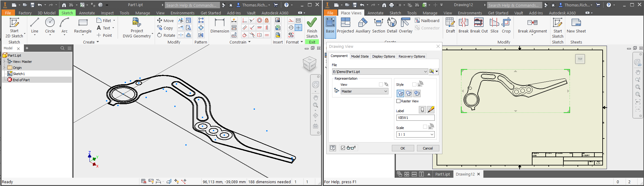 Display 2d And 3d Content In A Drawing View Inventor Products Diagram Software As You Can See The Sketch Geometry From Part Will Be Directly Displayed If We Look Perpendicular To