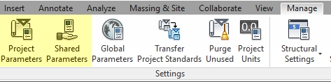 Menu Access of Shared and Project Parameters