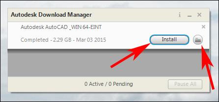 Image showing the install location of AutoCAD install file.
