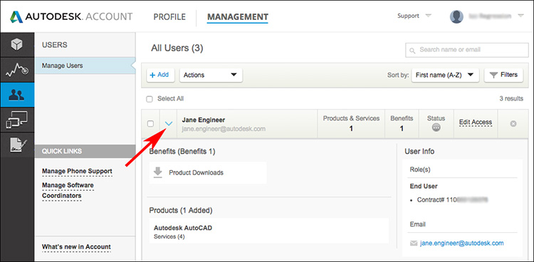 Image of User Management in Autodesk Account showing Add User button