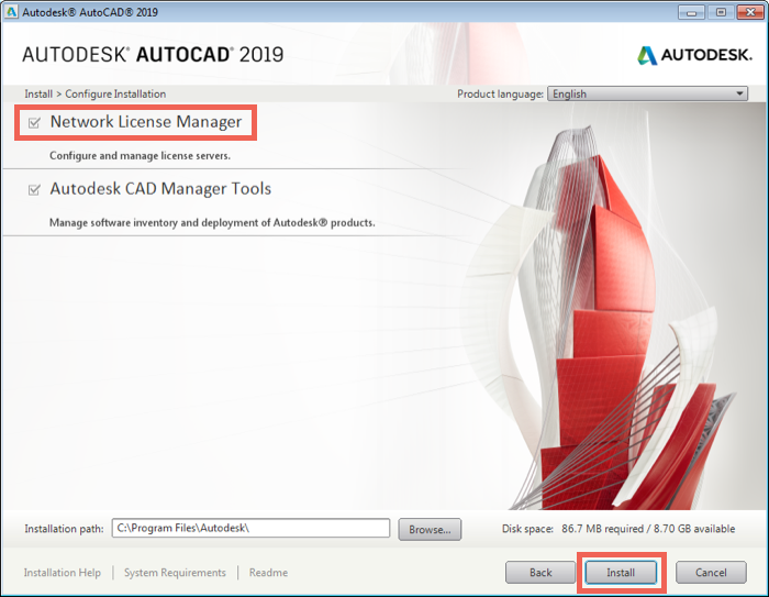 Install Network License Manager in AutoCAD installer
