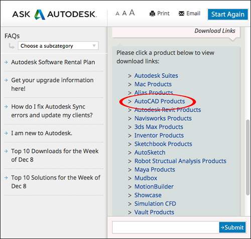 Image of the Virtual Agent showing the selection of Autodesk software product groups available for download.