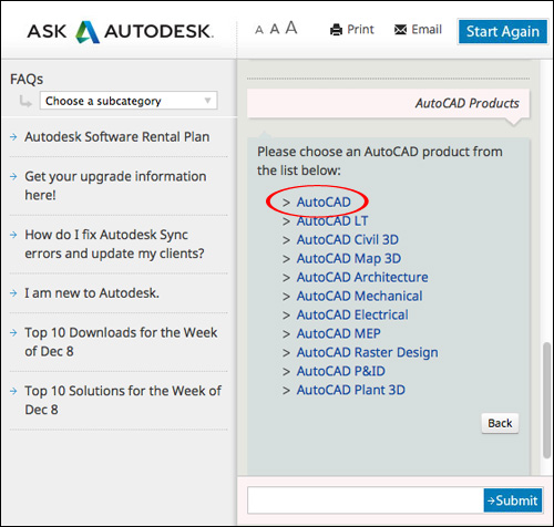 Image showing the names of Autodesk software products available for download.