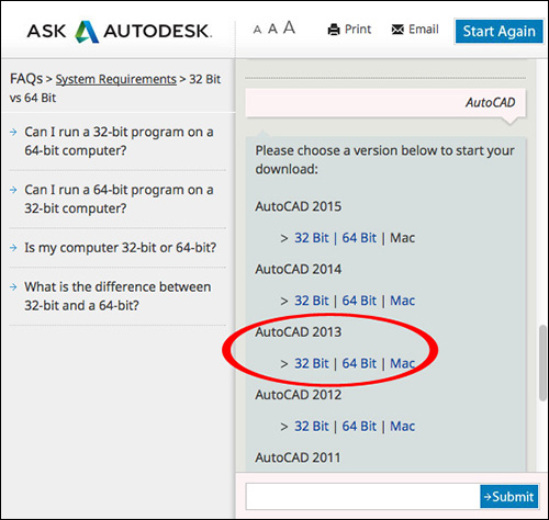Image of the Virtual Agent displaying specific Autodesk software versions available for download.