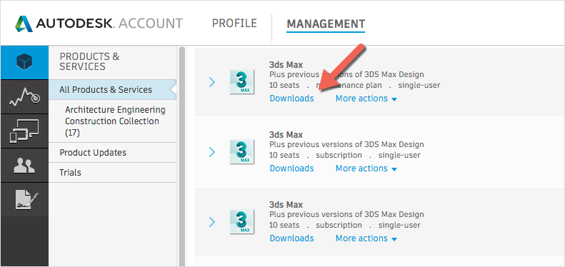 Autodesk Accounts Downloads button