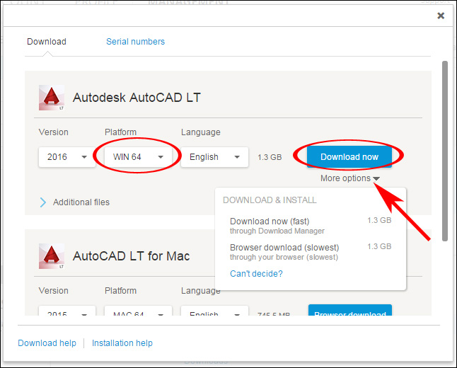 Image of the download pop-up window in Autodesk Account displaying alternative download methods available for a different platform.