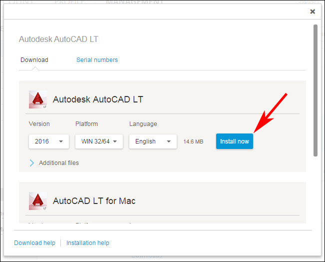 Image of the download pop-up window in Autodesk Account.
