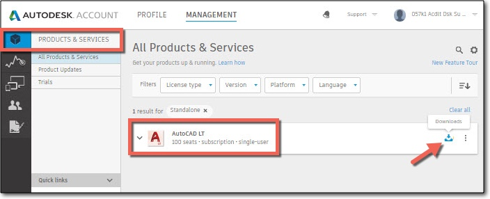 Image of the products & services page in Autodesk Account showing the download icon to start a product download.