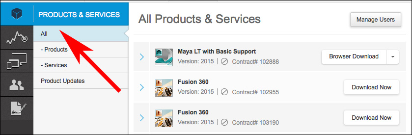 Images of Products & Services in Autodesk Account