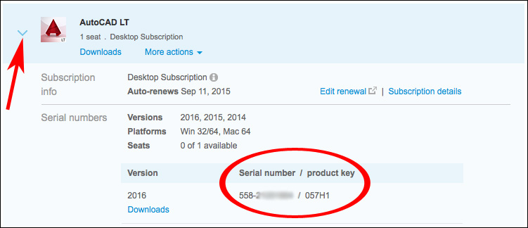 Image of serial number in product details tray of Autodesk Account.