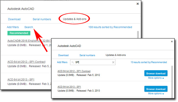 Image of the search function in the update download window in Autodesk Account
