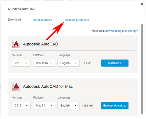 Image of Updates & Add-ons option in download window in Autodesk Account