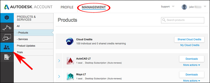 Image of Autodesk Account showing User Management access options