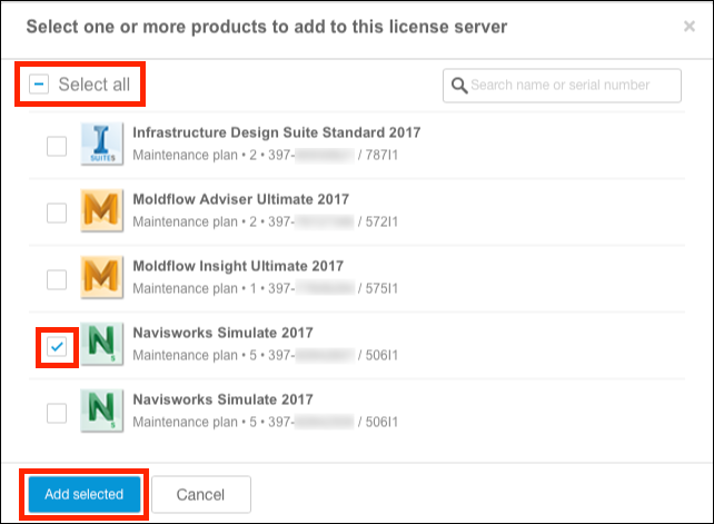 Select products to add to license server