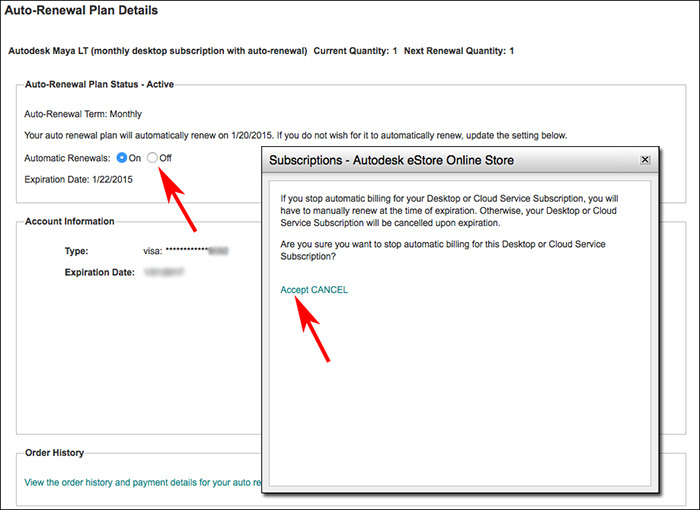 Image of auto-renewal details in Autodesk Store for subscription.