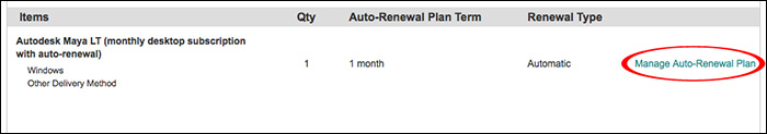 Image of the Autodesk Store order summary with link to manage auto renewal.