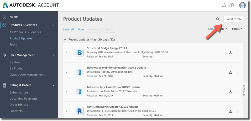 Export product updates to a CSV file in Autodesk Account