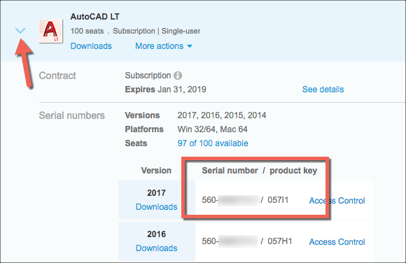 Image of Serial Number in Autodesk Account