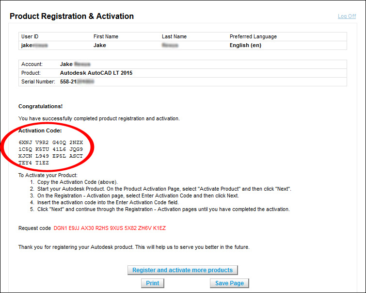 Image of an activation code from the product registration and activation screen.