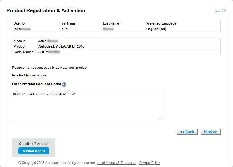 image of the autodesk product registration website where the Request Code is entered to receive an Activation Code.