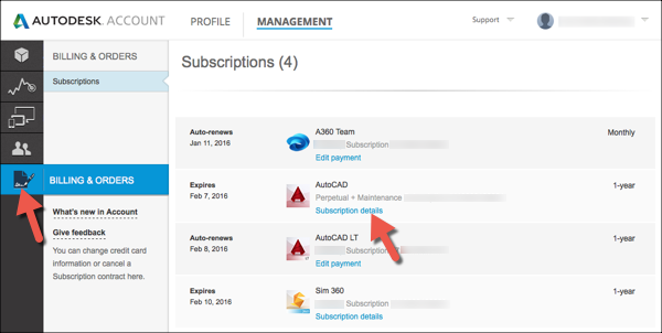 Image of Autodesk Account displaying the option to view contract information.
